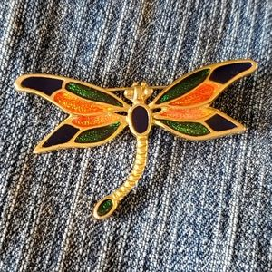 Dragonfly butterfly vintage brooch